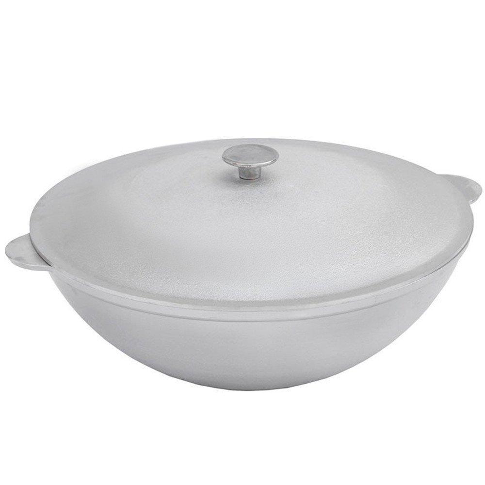Aluminum Wok Kazan for Making Pilaf/Plov Dutch Oven with Dual Handles Large Cooking Pot (8.5-qt. (8 L))