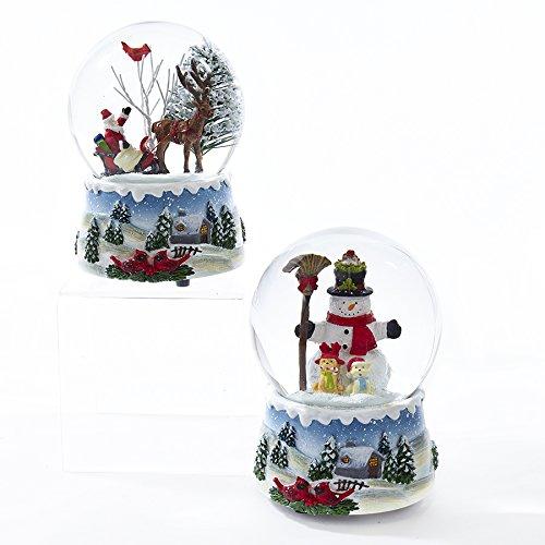 Kurt Adler 100mm Musical Wind-up Santa & Snowman Waterglobes Set of (Musical Snowman Snowglobe)