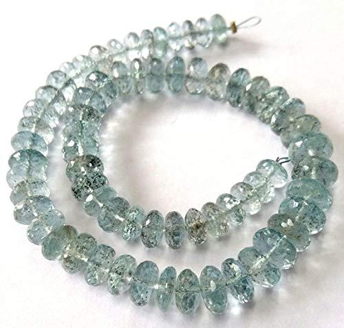 Natural Moss Aquamarine,Moss Aqua, Faceted Beads,AAA+++ Quality Moss Aqua rondelles Beads, 4 mm - 8 mm, 10''Strand [E2022] Moss Aqua Beads by KALISA GEMS