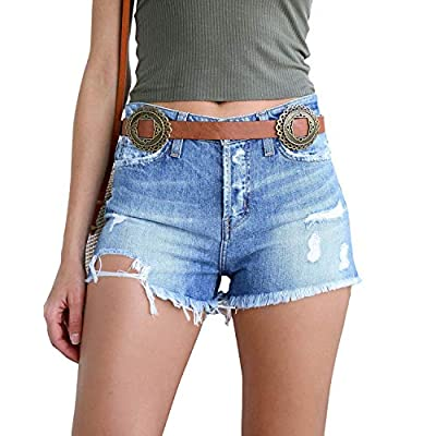 Oflive Women's Sexy High Waisted Stretch Mini Denim Shorts Hot Pants Clubwear at Women's Clothing store