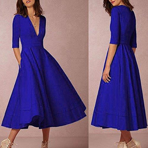 Midi Bleu Tunique Robe V 1 Profond 2 GongzhuMM Robe Robe de lgant Femme Cocktail Vintage Manches Swing xaSX6Bqgw