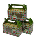 Christmas Cookie Boxes, Gable Munchkin style with Gift Tag, Extra Small size with Candy and Cupcake Holiday design (Set of 12)