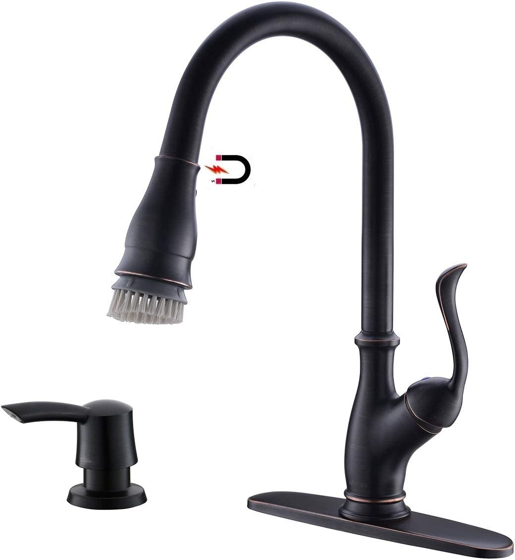 APPASO Pull Down Kitchen Faucet with Magnetic Docking Sprayer Oil Rubbed Bronze - Single Handle High Arc One Hole Pull Out Kitchen Sink Faucet with Soap Dispenser, 170ORB