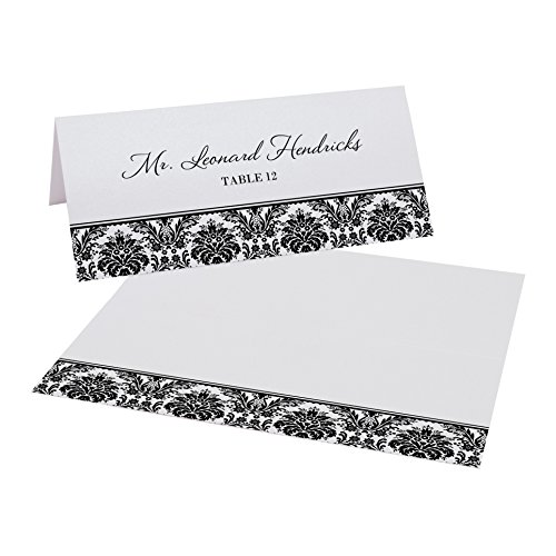 Damask Pattern Place Cards, Pearl White, Black, Set of 375 by Documents and Designs