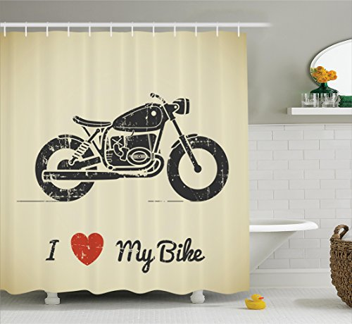 vintage motorcycle shower curtain - 8