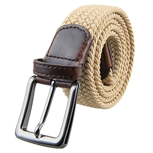 "Samtree Braided Belts for Men, Elastic Fabric Woven Stretch Web Belt Buckle (40"",01-Khaki)"