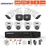 [Full HD] Security Camera System Wired,SMONET 8CH 1080P Surveillance Camera System(2TB Hard Drive),8pcs 2MP Bullet/Dome CCTV Cameras,Super Night Vision,Plug and Play,Free APP,Easy Remote Review
