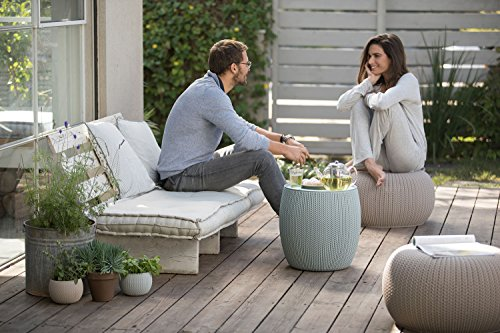 Keter 228474 Urban Knit Pouf Set, Taupe/Blue