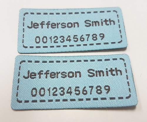 Woven Personalized Labels - Custom Woven Name Tapes Pre-cut Sew-on or Iron Labels Woven Tags for School / Camp / Care Home etc Each Set 42 Labels (M (42pcs), Blue)