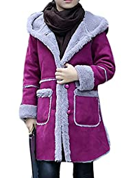 Fulok Big Girls' Winter Suede Button Front Hooded Outdoors Jackets
