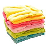 XUKE Set of 5 Candy Color Coral Fleece Cute Cartoon Super Soft Superabsorbent Hanging Wipe Hand Cloth Towel for Living Room or Kitchen Use Also Can Be a Kids Hand Wash Towel,very Soft,and Also Can Used for Car