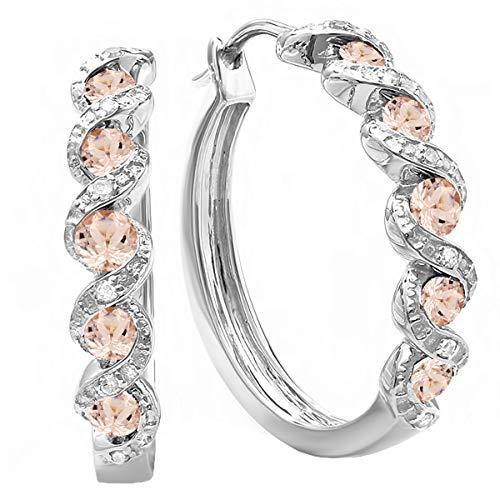 (Dazzlingrock Collection 0.86 Carat (ctw) White Round Morganite & White Diamond Hoop Earrings, Sterling)