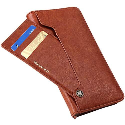 Eouine Samsung Galaxy S8 ケース 手帳型 全5色 高級PUレザー 機能的な回転カードポケット ストラップホール マグネット スタンド機能付き S8 ケース 手帳型 軽量 耐衝撃カバー ブラウン