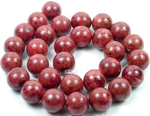 (14mm Red Sponge Coral Round Beads 16'')