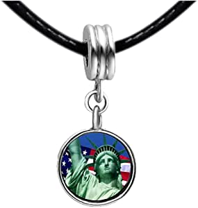 Chicforest Silver Plated The U.S. Statue of Liberty Photo Blue Aquamarine Crystal March Birthstone Flower dangle Charm Beads Fits Pandora Charms