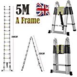 Multi-Purpose 5M Aluminium Portable Telescopic Ladder DIY Extendable A-Frame Ladder Extension 16 Steps 150KG