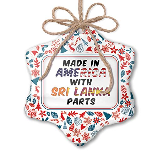 NEONBLOND Christmas Ornament Made in America with Parts from Sri Lanka Red White Blue Xmas