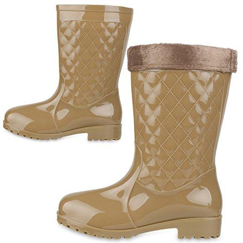 Rockige Damen Stiefeletten Gummistiefel Profilsohle Wasserdichte Boots Stiefel Gumistiefeletten Lack Damenschuhe Nieten Flandell Khaki Kroko