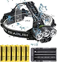 Rechargeable Headlamp, 5 LED 6000 High Lumen Flashlight with 6x18650 Rechargeable Battery ,6 Modes Head Lamp f