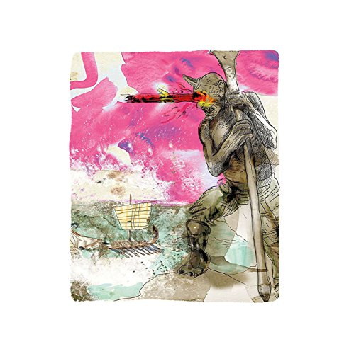 Kisscase Custom Blanket Modern Sketchy Abstract Painting of a Greek Myth God Image Artwork Bedroom Living Room Dorm Sky Blue Grey and Hot Pink