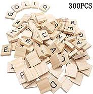 Goiio 300PCS Scrabble Letters, DIY Making Scrabble Crossword Game,Wood Scrabble Tiles