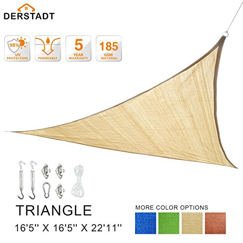Derstadt Triangle 16'5'' X 16'5'' X 22'11'' 98% UV Block Sun Shade Sail with Stainless Steel Hardware Kit, Top Outdoor Patio Canopy Backyard Shelter (5 Years Warranty, 185G HDPE, 24.6'PE Rope) (Sand) by Derstadt