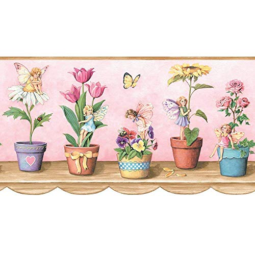 Crewcut Pink Fairies Wallpaper Border Flowers Butterflies JM015131B ()