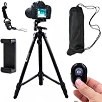 DAISEN Camera Tripod, 55 inch Aluminum Phone Tripod for iphone And Smart Phone, Camera Holder With Remote Control (Black)