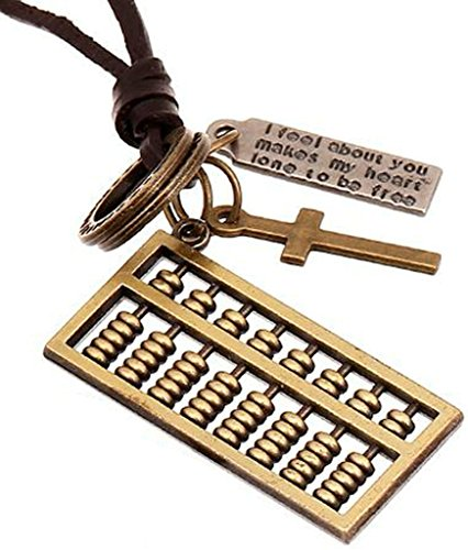 AMDXD Jewelry Gold Plated Men's Women's Pendant Necklace Bronze Abacus Cowhide