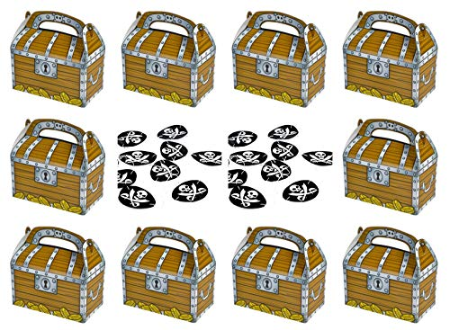 Pirate Treasure Chest Treat Boxes & Skull/Crossed Swords Design Eye Patches - 12 + 12 Pack]()