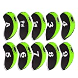 Debonice Golf Club head Covers Waterproof Neoprene Golf Iron Cover With Number Tag 10pcs/set (Green)