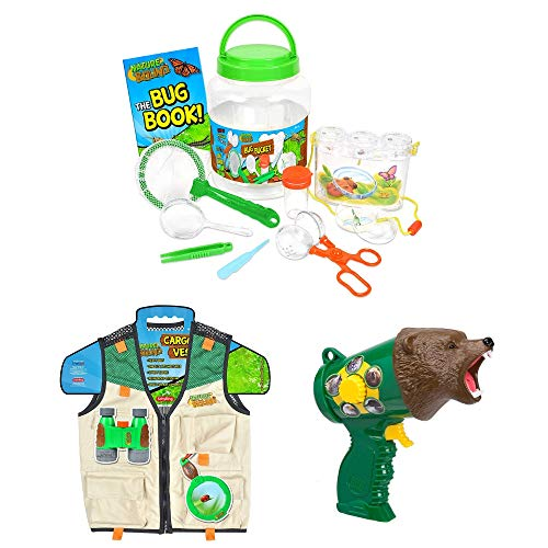 (Nature Bound Cargo Vest for Kids with Zipper, Bug Catcher with Habitat Bucket and 10 Piece Nature Exploration Set, Backyard Safari Animal Caller, Educational, Discovery, Science, STEM, Activity Book)