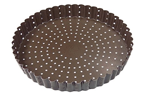 Paderno World Cuisine A4982316 Non-Stick Perforated Tart Pan, Brown