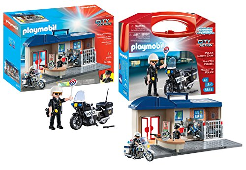 Action City Police Station (Playmobil City Action Playset Bundle with Take Along Police Station Playset and Police Motorcycle Playset)