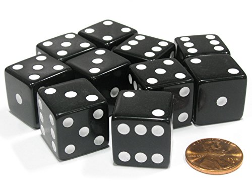 Set of 10 Large Six Sided Square Opaque 19mm D6 Dice - Black with White Pip Die