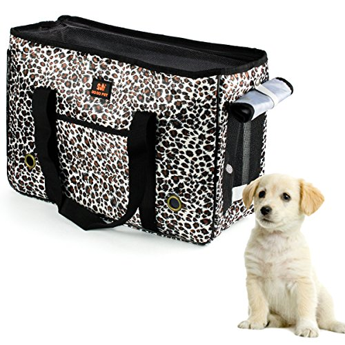 Ezeso Fashion Leopard Pet Carrier Airline Approved Pet Dogs Cats Comfort Travel Tote Bag Handbag (S)