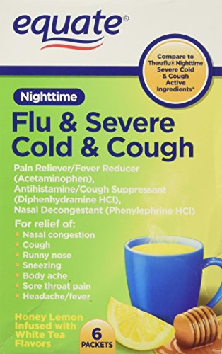 Equate Nighttime Flu and Severe Cold and Cough 6 packets Compare to Theraflu Severe Cold and Cough Nighttime (Diphenhydramine Hci 25 Mg Phenylephrine Hci 10 Mg)