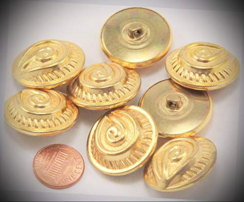 (JumpingLight 8 Large Domed Gold Tone Puffed Metal Buttons 1 1/8'' 28mm 7024 Perfect for Crafts, Scrap-Booking, Jewelry, Projects, Quilts)