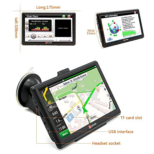 junsun 7 inch car or truck GPS Navigation Bluetooth 8GB by mean of  Rear view Camera FM MP3 MP4 256MB DDR 800MHZ Detailed Maps by mean of  Free enhancements car or truck GPS