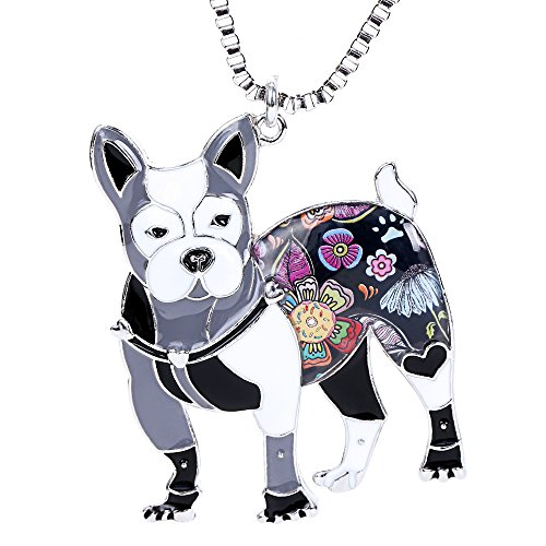 Boston Terrier Jewelry for Girls Gifts Novelty Enamel Pet Doggie Dog Necklaces & Pendants
