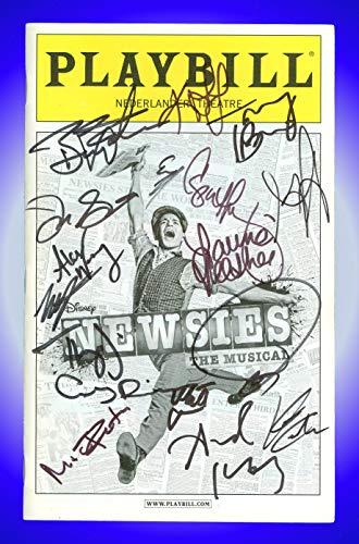 Newsies The Musical, Autographed Broadway Playbill + Jeremy Jordan, Kara Lindsay, Ben Fankhauser, Alex Wong