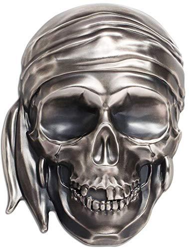 Pirate Shape (2018 PW Skull Series PowerCoin BIG PIRATE SKULL Shape 1/2 Kilo Silver Coin 25$ Palau 2018 Antique Finish)