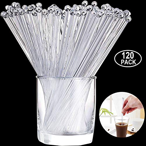 Aboat 120 Pieces 7.3 Inch Plastic Round Top Swizzle Sticks, -