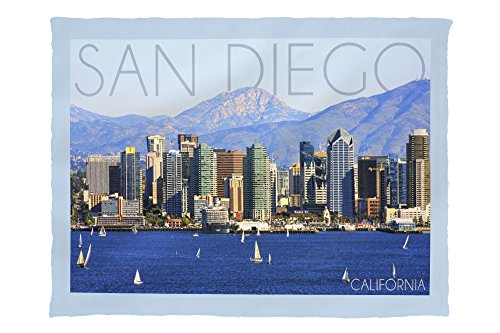 Lantern Press San Diego, California - Mountains and Sailboats 56011 (60x80 Poly Fleece Thick Plush Blanket) (San Diego Barrel & Crate)