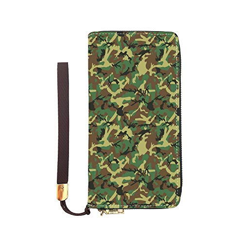 Women Long Wallet Leather Zip Around Phone Clutch Large Travel Purse Wristlet Camouflage