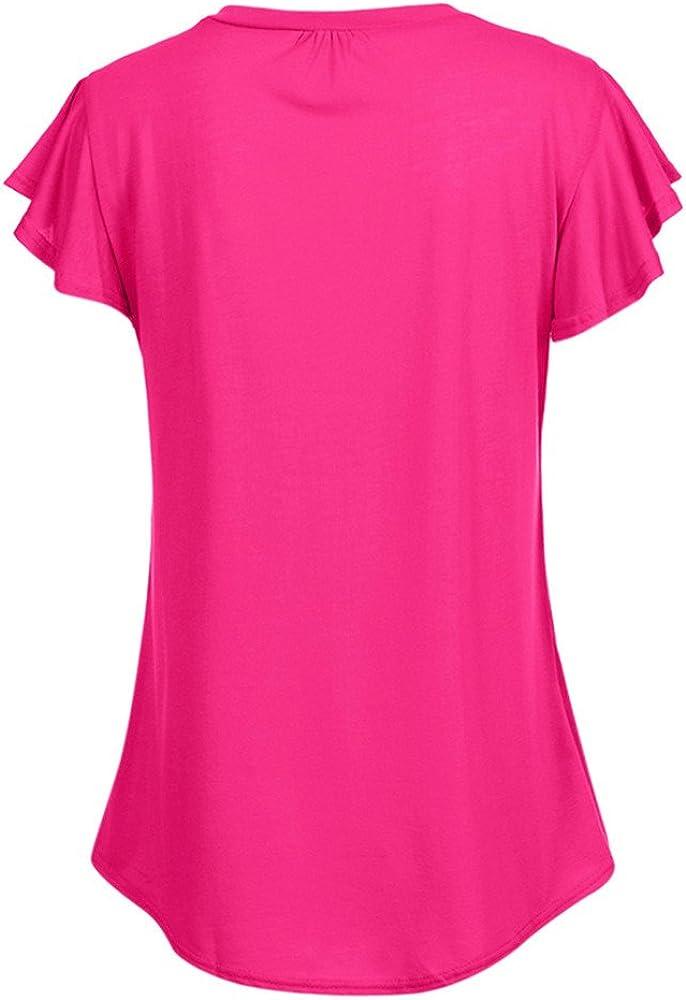 Bluelucon camisetas mujer Mujer Tops Blusa De Manga Corta O-Cuello Fruncido Blusas De Color Liso Fila TúNica Plisada Tops Mujeres Tallas Grandes Tops Camiseta Casual Blusa: Amazon.es: Ropa y accesorios