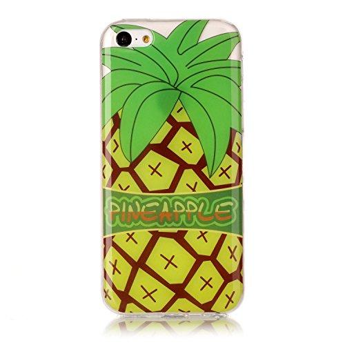 Hülle iPhone 5C , LH Große Ananas TPU Weich Muschel Tasche Schutzhülle Silikon Handyhülle Schale Cover Case Gehäuse für Apple iPhone 5C