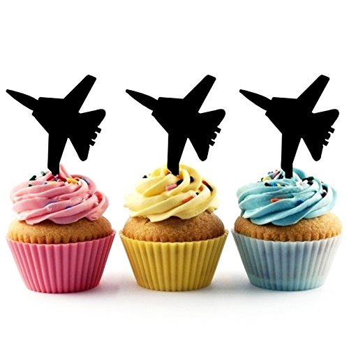 TA0050 Jet Fighter Silhouette Party Wedding Birthday Acrylic Cupcake Toppers Decor 10 pcs by jjphonecase