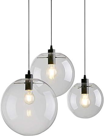 Lampe industrielle globe de verre Transparentnoir Abat jour