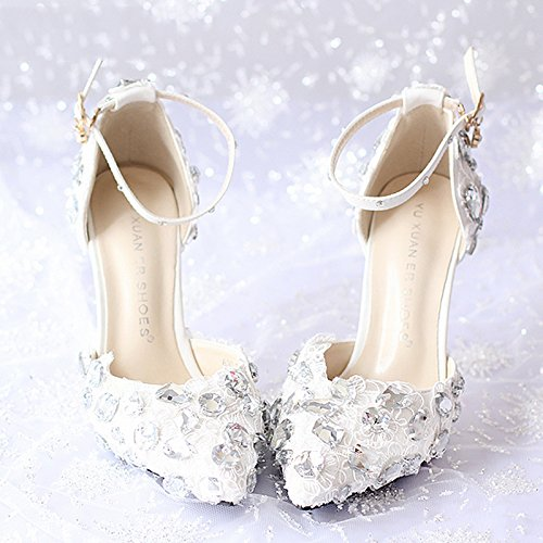 Heel Shoes With Heels Red White Shoes Wedding Heels 7Cm Bride Dress Fine High Red Sandals Pointed Lace VIVIOO Diamond Prom Shoes Women 6 Sandals qXwT761